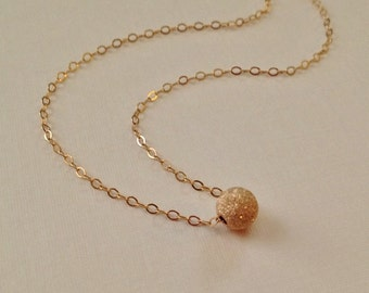 Tiny Gold Necklace  -Gold Stardust Bead Necklace -Single Sparkly Bead Necklace in Gold -Minimalist Gold Necklace