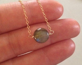 Labradorite Necklace in Gold -Gold Labradorite Necklace