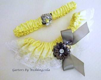 Yellow and Gray Lace Wedding Garter Set/   Yellow Bridal Garter Set/