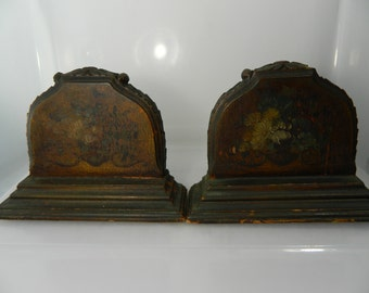 Vintage Bookends Antique Solid Wood Mahogany Bookends, Carved Wood Collectors Bookends Hand Painted Flowers