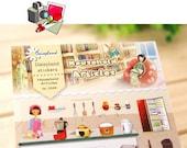 Household Articles - Paper Die Cut Deco Sticker - Daisyland - 1 Sheet