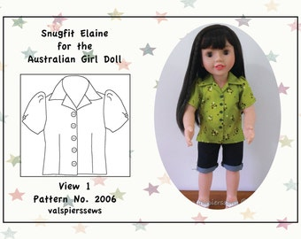"2006 Open Neck Blouse, fits 20"" dolls like Australian Girl Dolls, Instant download PDF pattern, Doll clothes pattern, 20"" dolls"