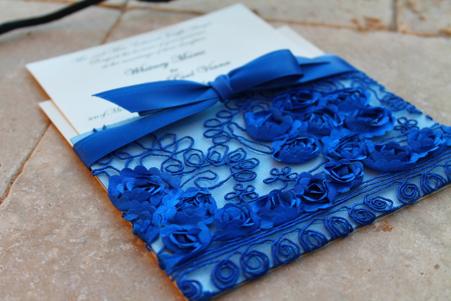 Royal Blue Wedding Invitation Cards: Royal Blue Lace Wedding Invitation Sleeve / Pocket / Bohemian