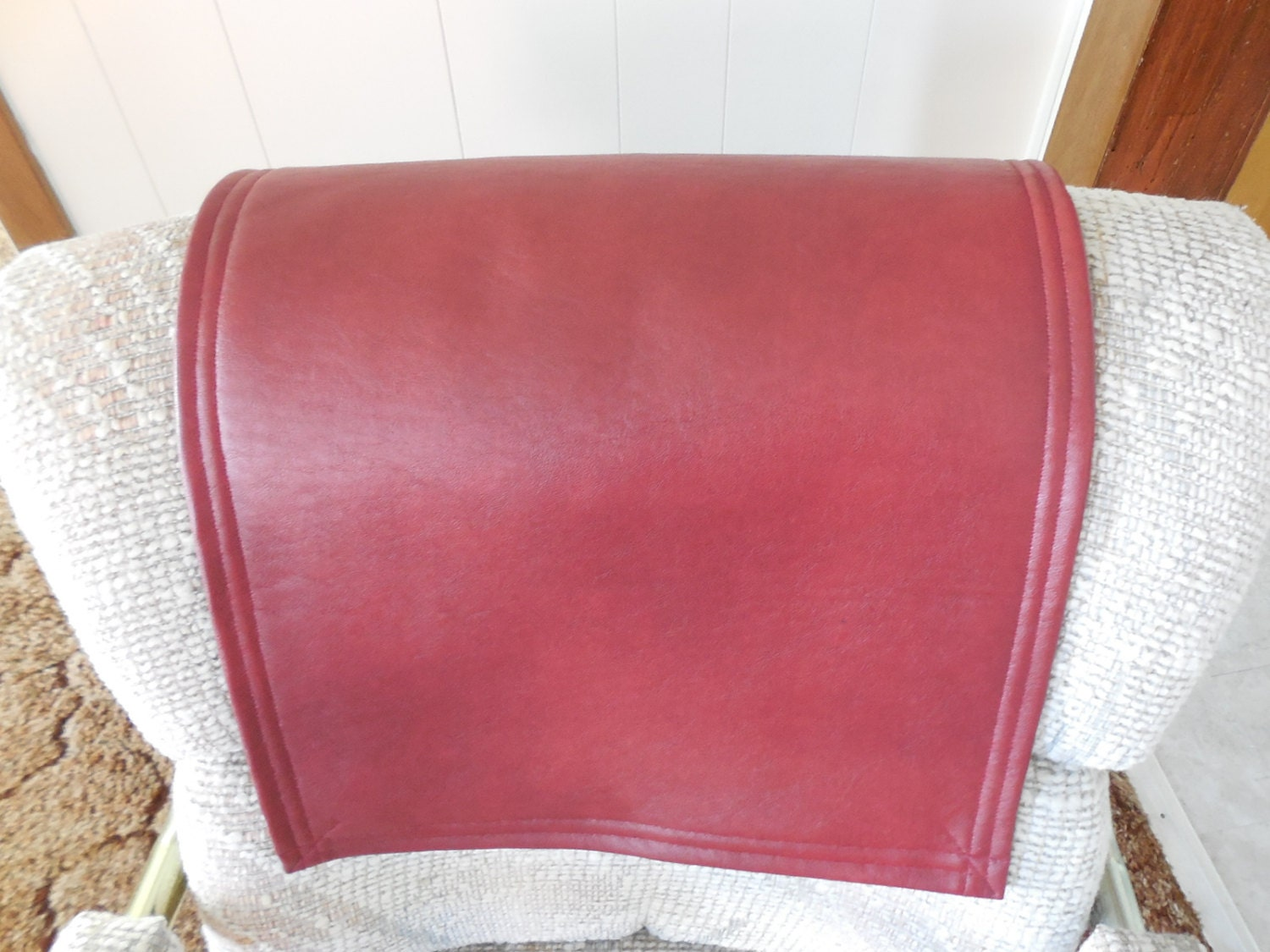 red vinyl lg 14x30recliner cover chair headrest pad by. Black Bedroom Furniture Sets. Home Design Ideas