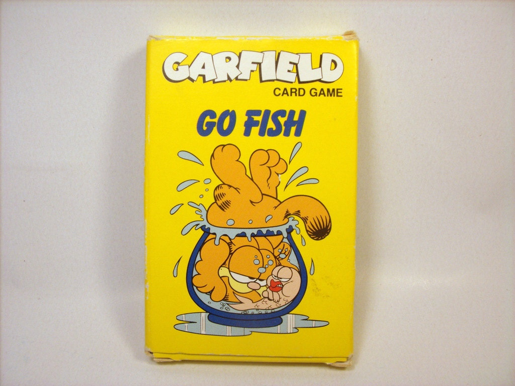 Vintage garfield go fish card game complete with instruction for Card game go fish