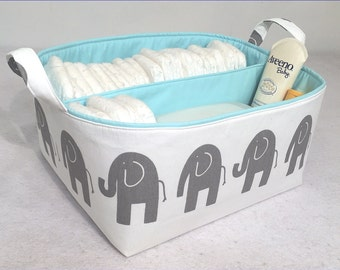 "NEW XLA Diaper Caddy 13""x11""x7"" One Divider Fabric Storage Bin, Organizer, Basket, Stone Grey Elephant on White with Light Blue Lining"