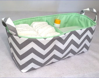 "NEW Long Diaper Caddy 16""x6""x7"" with Divider, Fabric Storage Bin Stone Grey/White Chevron with Mint Lining"