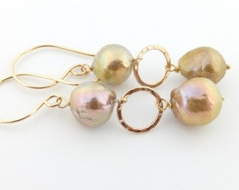 Kasumi pearl earrings, ripple pearls, pondslime, nucleated, gold leaf, handcrafted: Simply Adorned