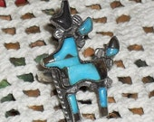 Zuni Deer Ring Turquoise Sterling Signed Numbered Size 6.25 USA
