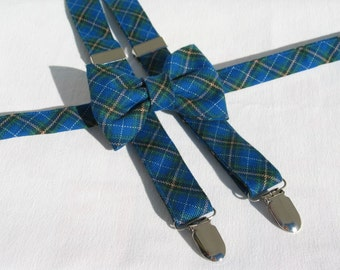 Nova Scotia Tartan Suspenders and Bow Tie Set, NS, Blue White Plaid Tartan Suspenders, Small Print Nova Scotia Tartan, Bluenose Tartan