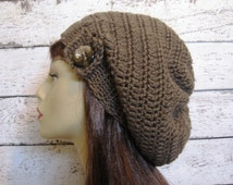 Crochet Taupe Slouchy Hat with Button Slouch Beanie Brown Slouch Tam Crochet Slouchy Beanie Knit Slouchy Hat Crochet Tam Crochet Beanies