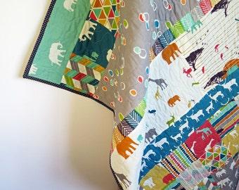 Rustic baby quilt, nursery bedding, gender neutral quilt, safari serengeti animals, orange brown teal