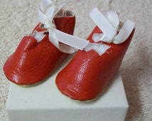 Vintage Doll Shoes Red Leather Shoes