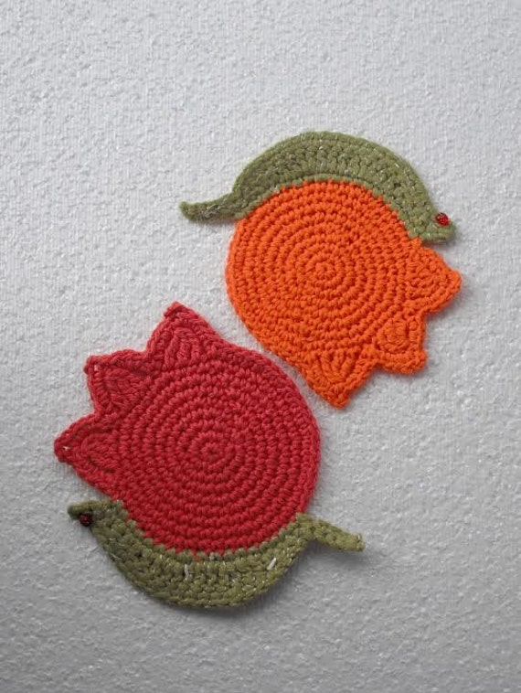 tulips. set of 2 coasters. cotton eco-friendly lace life flowers. earth friendly gift hand crocheted original design