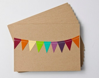 Lunch Box Notes, Mini Stationery, Kraft Paper Cards, Rainbow Stationary, Bunting Flag Cards, Gift Under 20, Teacher Cards, Birthday Card Set