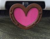 Horseshoe Hitch Insert, Trailer Hitch Cover, Horse truck accessory, for females, pink, red, white, or blue