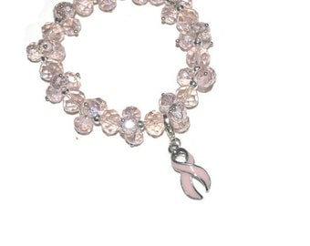 Pale Pink Breast Cancer Awareness Crystal Bracelet Hand-Beaded Stretchy Fits All