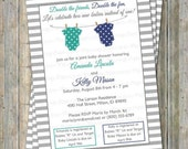 Joint Baby Shower Invitation, polka dot onesies, two boys, teal/green and navy, Gray Stripes, Digital, Printable file