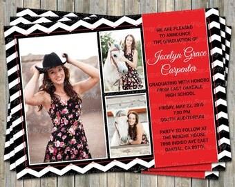Multi Photo Graduation Announcement/Invitation, Red, White, Black, printable, digital file
