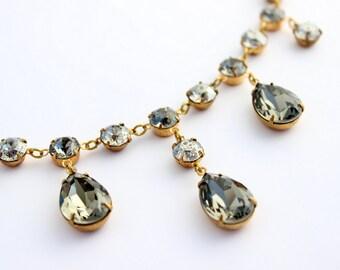 Black Diamond Swarovski necklace, bridesmaid jewelry, wedding, grey necklace, swarovski jewelry, bib necklace, bridesmaid necklace BD01