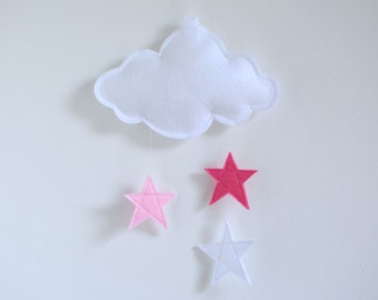 Cloud and Stars Baby Crib Mobile - Customized Personalized Colors Available