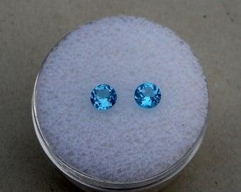 Swiss Blue Topaz Round Gem Pair 5mm each