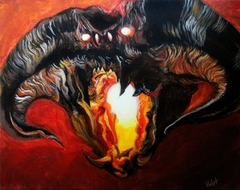 """BALROG - Lord of the Rings Art Print/Reproduction by Violet Love - 8"""" x 10"""""""