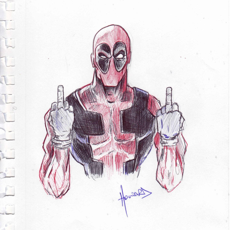 Deadpool Flipping The Bird 5.5x8.5 Pen Sketch By