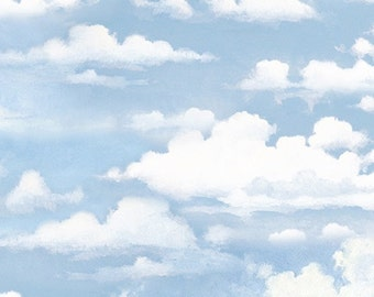 BRINGING IN the HARVEST~blue sky with clouds  by the 1/2 yard Wilmington fabric-68789-441