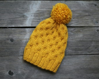 Knit pom pom hat womens pompom hat yellow mustard winter accessories knitted hat with pompom hat
