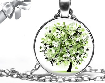 Abstract Green Spring Tree Necklace Pendant - Choose Size
