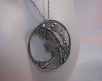 """c1950's Sterling Victorian Maiden with Bonnet Pendant, 18"""" Chain"""