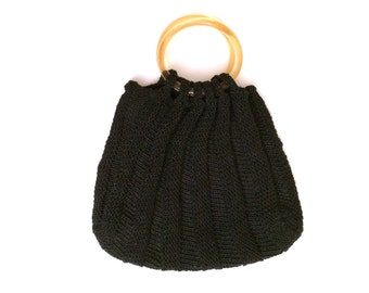 Black Pouch Purse with Vertical Pleats and Circle Handles