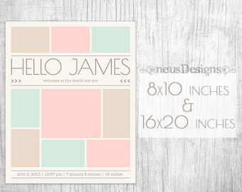 Newborn collage, Photo collage template, 8x10, 16x20 Storyboard for photographers, Birthday storyboard, Photoshop collage, 9 pictures