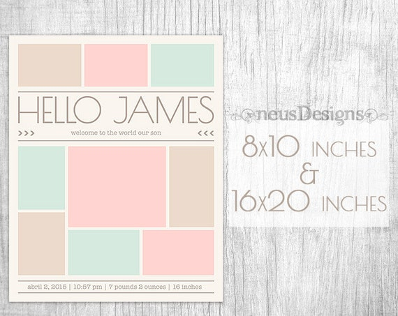 newborn collage photo collage template 8x10 16x20 by. Black Bedroom Furniture Sets. Home Design Ideas