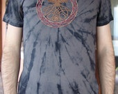 Forest psy t-shirt, graphite, celtic tree embroidery motive, size M