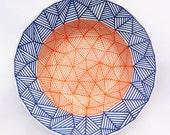 GEODD -  Hand drawn blue and orange bowl