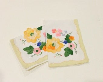 Pair of Vintage Floral Embroidered Napkins
