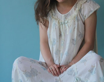 Light Feminine Nightgown Ivory with Sheer Blue Roses