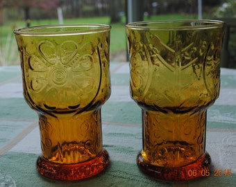 2 - Libbey Amber Country Garden Water Glasses