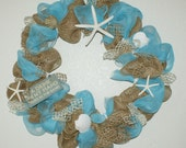 "XL Beach Wreath 36"" Burlap Turquoise Summer Wreath"