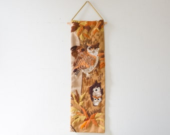 Vintage Owl Wall Hanging Embroidered Vintage Wall Decor