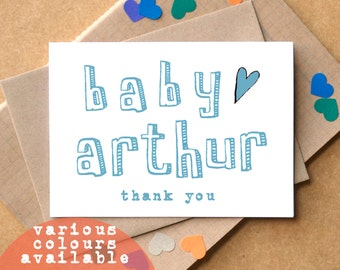 Personalised Thank You Baby Cards - thank you new baby cards - baby shower thank you cards - baby name thank you cards