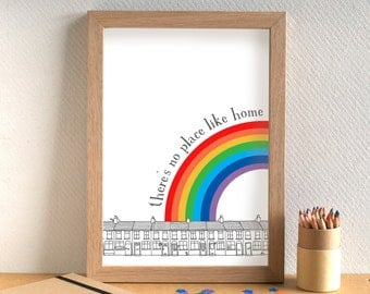 There's No Place Like Home Print - free UK postage - can be personalised