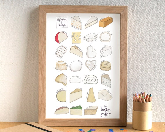 Cheese alphabet print cheese art cheese print kitchen Gifts for kitchen lovers