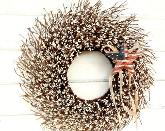 Summer Wreath-4th of July Door Wreath-Patriotic Wreath-Military Wreath-Primitive Star Wreath-Scented Wreath-Twig Wreath-Star Home Decor