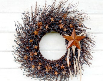 Summer Wreath-July 4th Wreath-Primitive Country Wreath-Rustic Star Wreath-Primitive Home Decor-Blue Star Wreath-RUSTIC BLUE TWIG Wreath-Gift