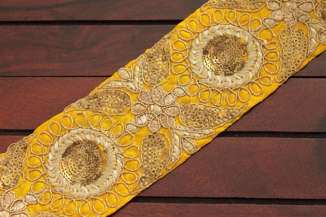 Yard yellow silk fabric trim embroidered floral design sari