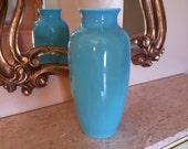 ROOKWOOD POTTERY VASE Shape 6870 Dated 1946 Daffodil Floral Design Sleek Blue Crystalline Color