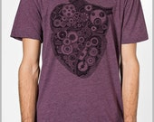 Anatomical Steampunk Heart Gears T shirt Valentines Unisex Men's Women's American Apparel Tee Tshirt  Gift for him her Science Anatomy